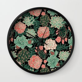 succulent and rose Wall Clock