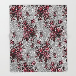 Vintage Roses and Spiders on Lace Halloweeen Watercolor Throw Blanket