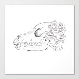 Overgrown Fox Skull Canvas Print
