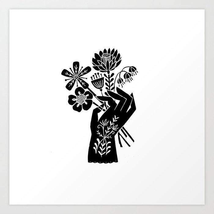 Linocut Black And White Hand Holding Flowers Art Printmaking Design
