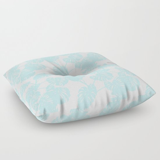 Blue Monstera Tropical Leaves Print Floor Pillow By