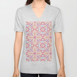 Pink teal yellow ethnic moroccan motif pattern Unisex V-Neck