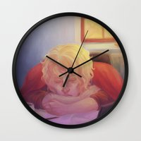 enjolras Wall Clocks featuring The nap by Puckboum