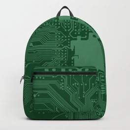 Green Geek Motherboard Circuit Pattern Backpack