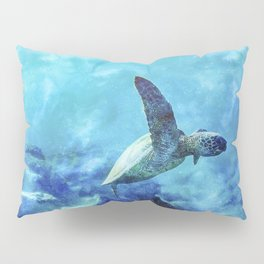 Sea Turtle Into The Deep Blue Pillow Sham