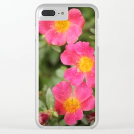Neon Flowers Clear iPhone Case