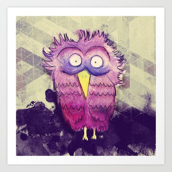 An Owl with wide Eyes Art Print