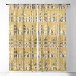 Layered Geometric Block Print in Mustard Sheer Curtain