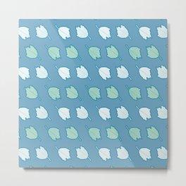 Silver Poplar Tree Leaf Pattern Metal Print