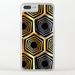 Gold and silver hexagonal composition Clear iPhone Case