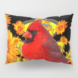 RED CARDINAL SUNFLOWERS BLACK ART Pillow Sham