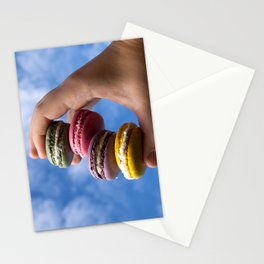 colorfull french macaroons on green background Stationery Cards