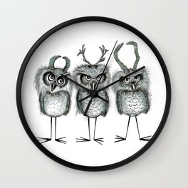 Owls with Horns Wall Clock