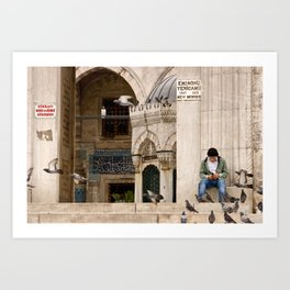Travel Photography, street photography, entrance to New Mosque in Istanbul, Turkey. Photo print.  Art Print