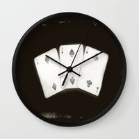 house of cards Wall Clocks featuring Cards by 2b2dornot2b