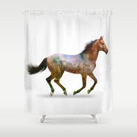 horse Shower Curtains featuring horse by ron ashkenazi