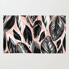 Calathea black & grey leaves with pale background Rug