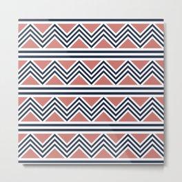 Stripe and chevron pattern Metal Print