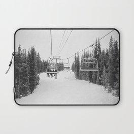 Ski Chair Lift B&W \\ Deep Snow Season Pass Dreams \\ Snowy Winter Mountains Landscape Photography Laptop Sleeve