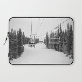 Ski Chair Lift B&W \\ Deep Snow Season Pass Dreams \\ Snowy Winter Mountains Landscape Photography Laptop Sleeve