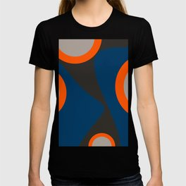Abstract Shapes Blue and Orange on Black Art T-shirt