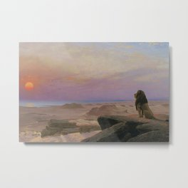 The Lion, The Serengeti, and the Sun, The Two Majesties African Plains landscape painting by Jean-Léon Gérôme Metal Print