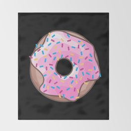 Pink Donut on Black Throw Blanket