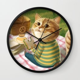 A cat is having a picnic Wall Clock