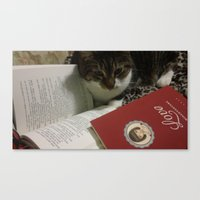 caleb troy Canvas Prints featuring Caleb the cat by RubyEsmeralda