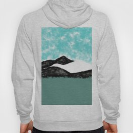 Artistic teal black white olive green watercolor mountain Hoody