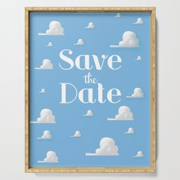 Save the Date vintage clouds Serving Tray