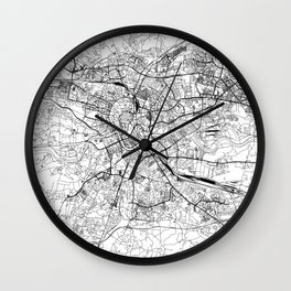 Krakow White Map Wall Clock