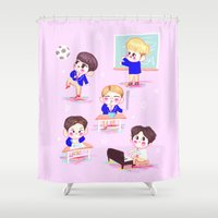 shinee Shower Curtains featuring school shinee by sophillustration