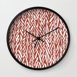 Bold contrast herringbone stripe pattern in rusty red Wall Clock
