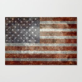 USA flag - Old Glory in dark grunge Canvas Print