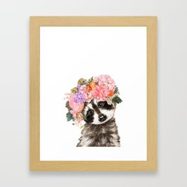 Baby Raccoon with Flowers Crown Framed Art Print