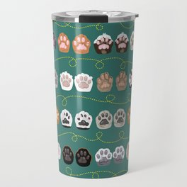 Toe Beans on Green / Cat Paws Travel Mug
