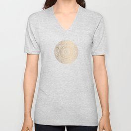 Gold Mandala Pattern Illustration With White Shimmer Unisex V-Neck