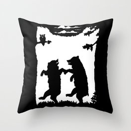 Two Dancing Bears Trees Owl Black Silhouette on White Throw Pillow