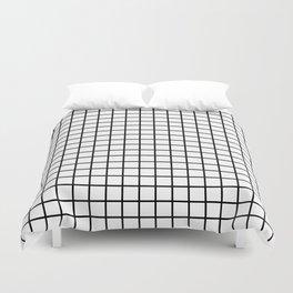 fine black grid on white background - black and white pattern Duvet Cover