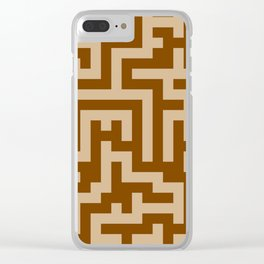 Tan Brown and Chocolate Brown Labyrinth Clear iPhone Case