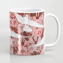 Doves and Lilies Vintage Textile Pattern, 1897 Coffee Mug