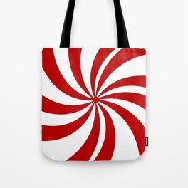 festive winter holiday candy land red and white lollipop candy swirls Tote Bag