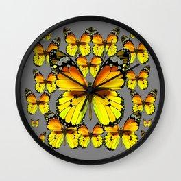 CLUSTER YELLOW-BROWN  BUTTERFLIES GREY  DESIGN Wall Clock