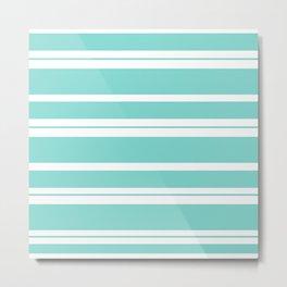 Tiffany Aqua Blue Horizontal Stripes Metal Print