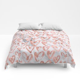 Hearts Rose Gold Marble Comforters