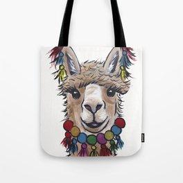 Alpaca with Tassels, colorful Alpaca Art Tote Bag