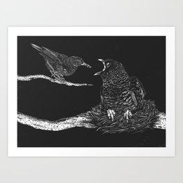 Cuckoo nestling Art Print
