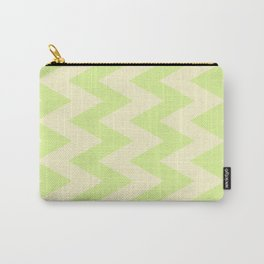 Cream and Lime Chevron Pattern Carry-All Pouch