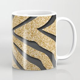 Gold Glitter Zebra Stripes on Dark Metallic Coffee Mug